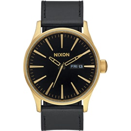 Nixon Sentry Leather Watch - Gold/Black