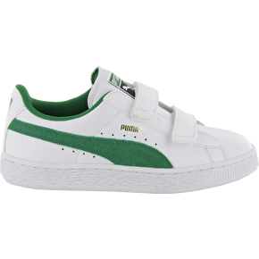 Puma Basket Classic V Kids Shoes - White/Amazon