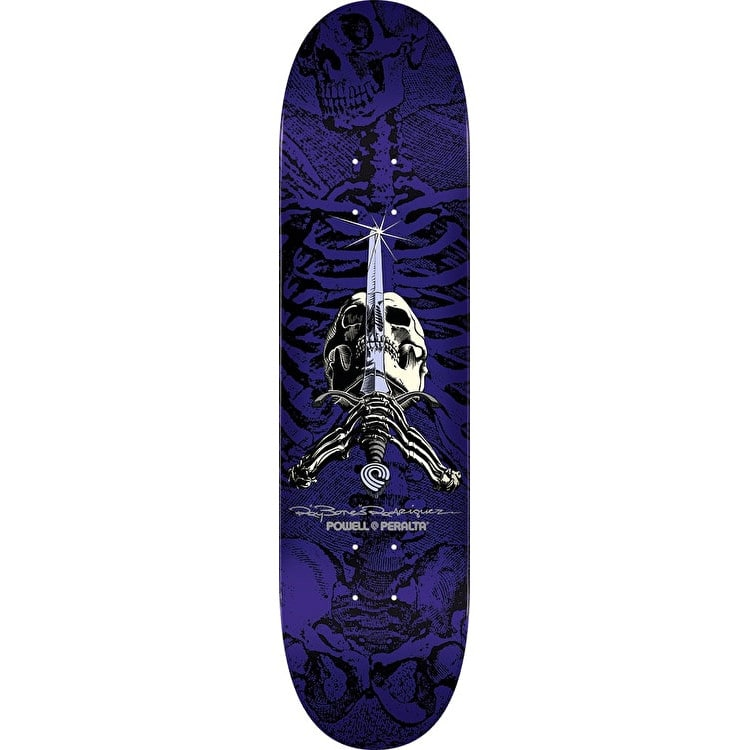 Powell Peralta Ray Rodriguez Skull & Sword Skateboard Deck - Purple 8.5""