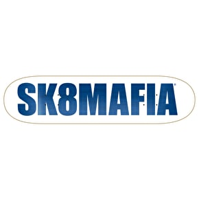 SK8 Mafia OG Logo White KO Skateboard Deck - Assorted Stains 8.12