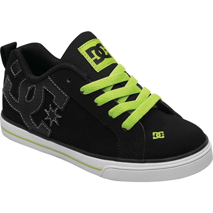 DC Court Graffik Vulc Kids - Black/Soft Lime - UK Junior 13 (B-Stock)