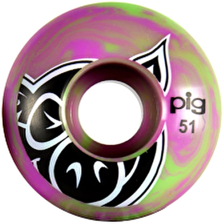 Pig Swirls Skateboard Wheels - Purple/Green 51mm (Pack of 4)