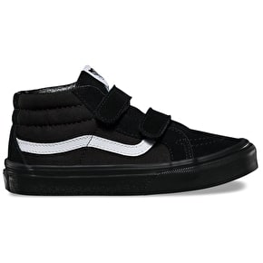 Vans Sk8-Mid Reissue V Kids Skate Shoes - (Canvas & Suede) Black/Black