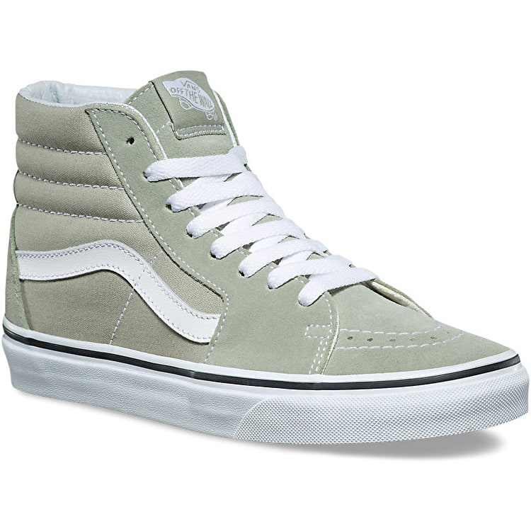 Vans Sk8-Hi High Top Skate Shoes - Desert Sage/True White