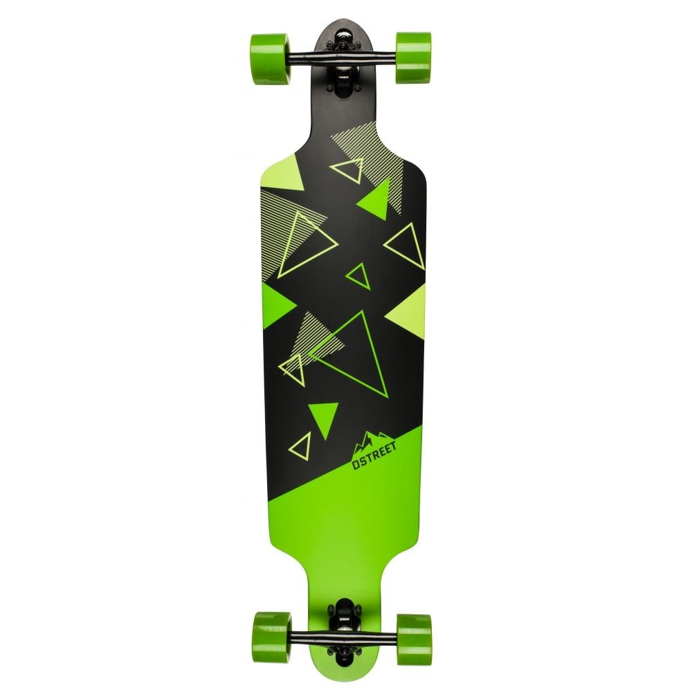 Image of D-Street Polygon Tri Drop-Through Complete Longboard - Green 39""