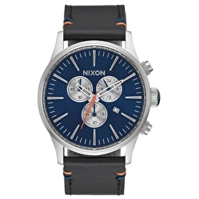 Nixon Sentry Chrono Leather Watch - Blue Sunray
