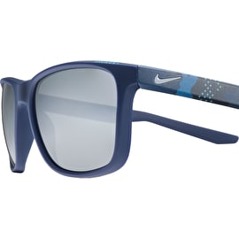 Nike SB Unrest Sunglasses - Matte Midnight Navy/Midnight Navy Camo With Grey Silver Flash Lens