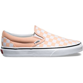 Vans Classic Slip-On Skate Shoes - (Checkerboard) Bleached Apricot/True White