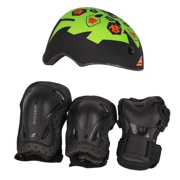 Rollerblade 2018 Cube Adjustable Inlline Skates Bundle - Black/Green