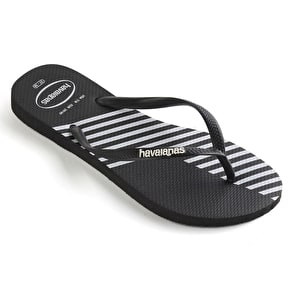 Havaianas Slim Block Colour Womens Flip-Flops - Black/Black