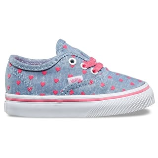 Vans Authentic Toddler Skate Shoes - (Chambray Hearts) Blue/True White