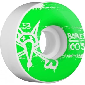 Bones Skateboard Wheels - OG 100's #9 V4 White 53mm (Pack of 4)