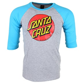 Santa Cruz Kids T-Shirt - Classic Dot Baseball Cyan/Dark Heather