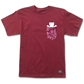 Grizzly Shatter OG Bear Pocket T-Shirt - Burgundy