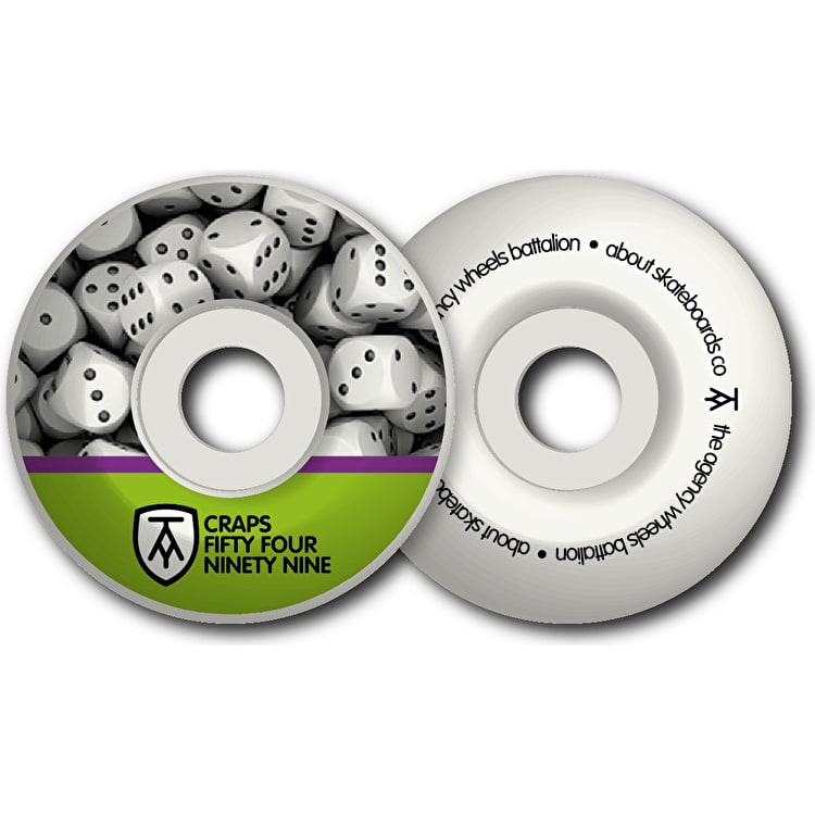 The Agency Craps 99a Skateboard Wheels - Lime Purple 54mm (Pack of 4)