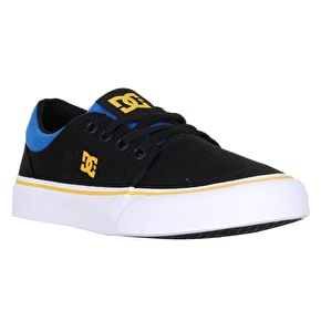 DC Trase TX Kids Skate Shoes - Black/Blue/Grey