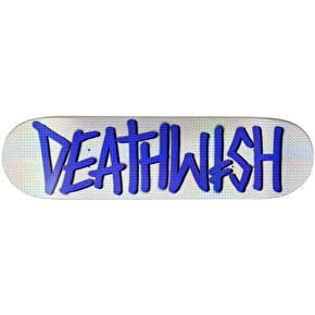 Deathwish Deathspray Skateboard Deck - White/Blue Holo 8.25