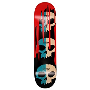 Zero 3 Skull Skateboard Deck - Blue/Natural 8.125