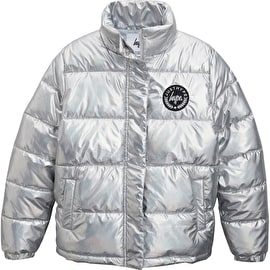 Hype Metallic Kids Puffer Jacket - Silver