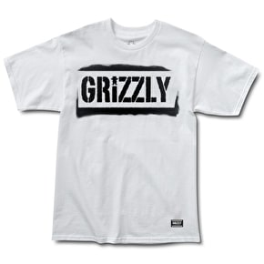 Grizzly Stencil Stamp T-Shirt - White