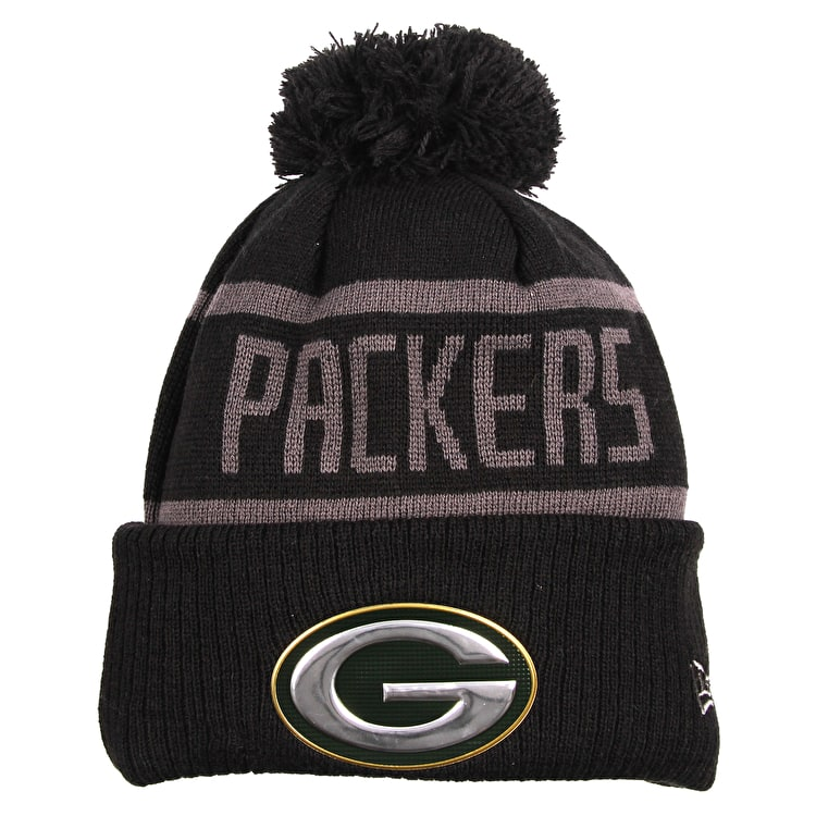 New Era NFL Black Collection Beanie - Green Bay Packers