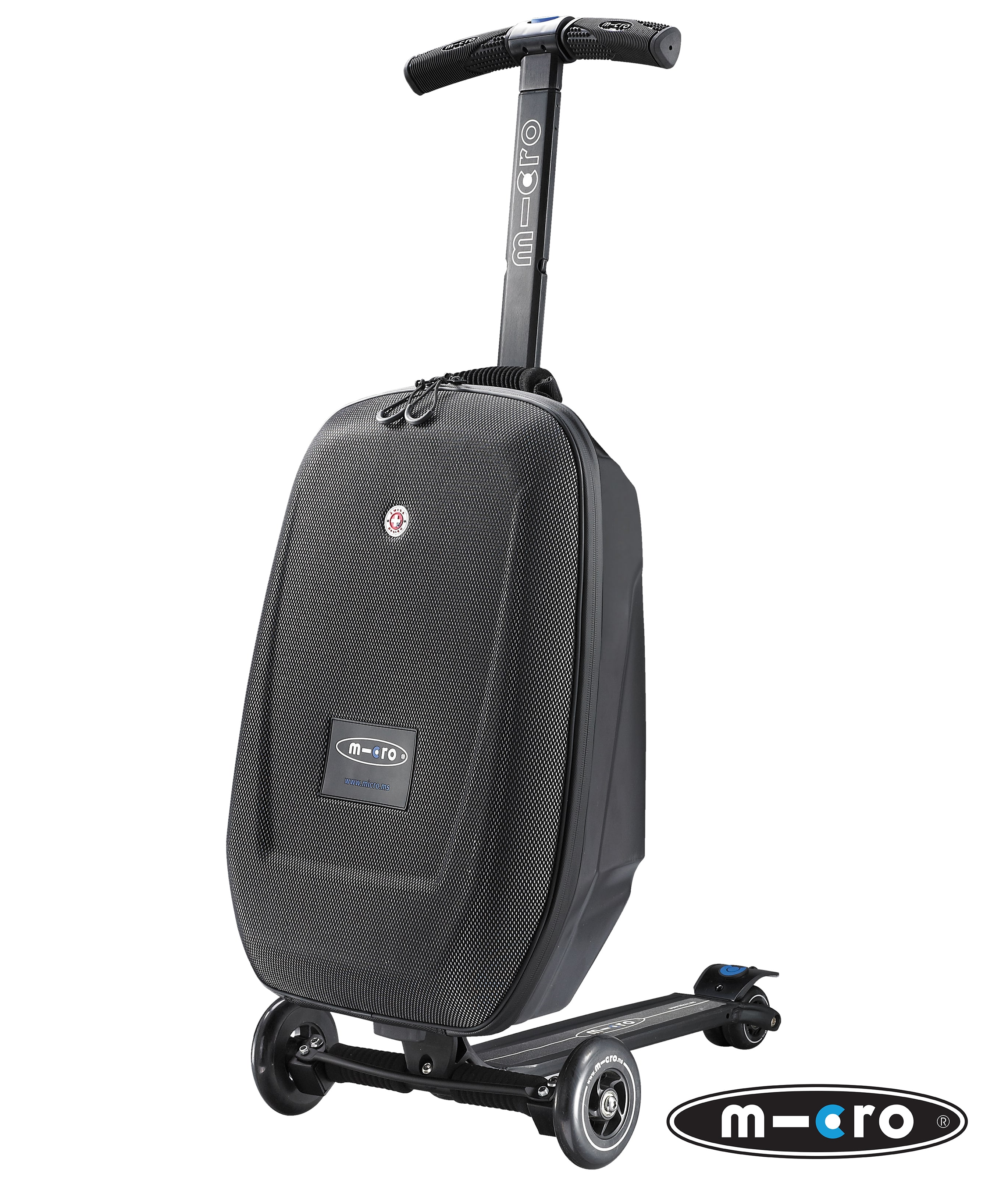 micro 3 in 1 luggage scooter black complete scooters. Black Bedroom Furniture Sets. Home Design Ideas