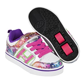 Heelys X2 Bolt Plus Light Up - White/Silver/Rainbow