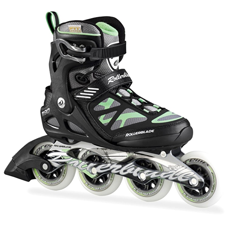 Rollerblade Macro 90 Black Green Womens Inline Skates - UK Size 4 (B-Stock)