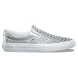 B-Stock Vans Classic Slip-On Skate Shoes - (Metallic Snake) Silver/True White