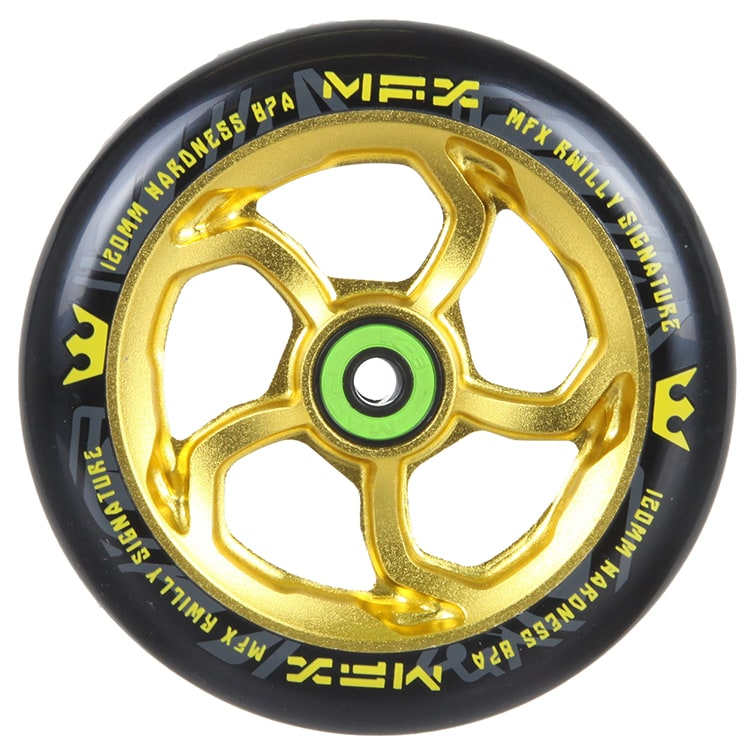 MGP MFX Hurricane Scooter Wheel - R Willy Signature 120mm Anodised Gold