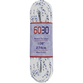 60/30 Waxed Pro Laces White/Blue