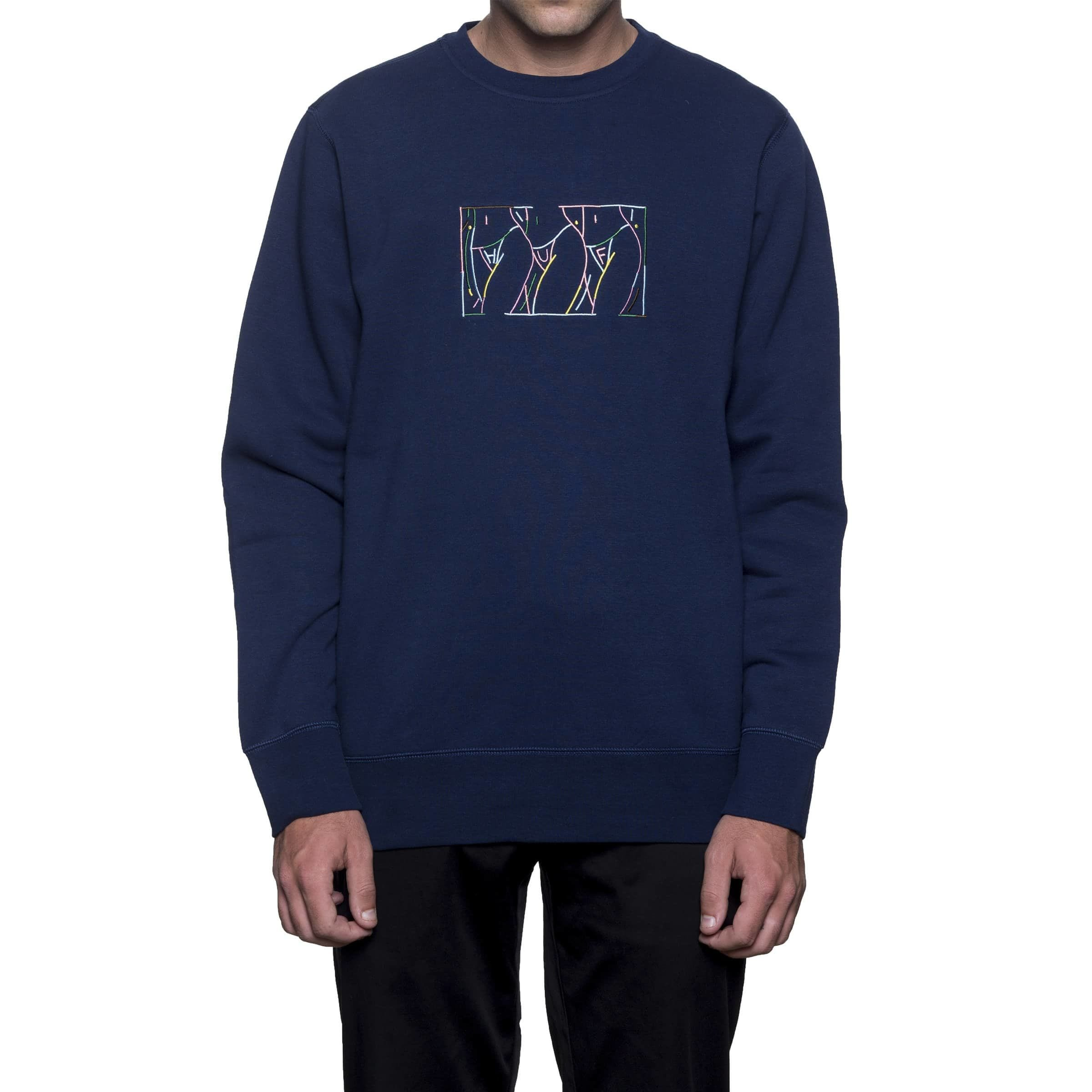 Image of Huf Malibu Crew Fleece Crew Neck - Navy