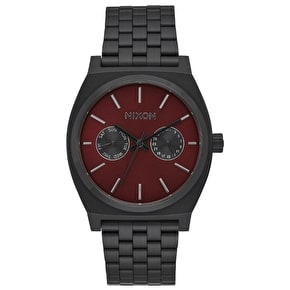 Nixon Time Teller Deluxe Watch - All Black/Deep Burgundy