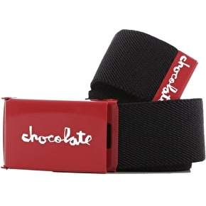 Chocolate Red Square Stretch Belt - Black