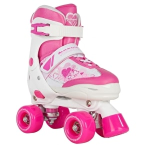 Rookie Kids' Adjustable Quad Roller Skates - Pulse Pink/White