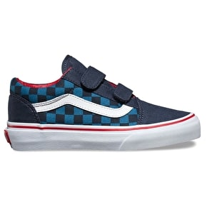 Vans Old Skool V Skate Shoes - (Checkerboard) Blue/Navy