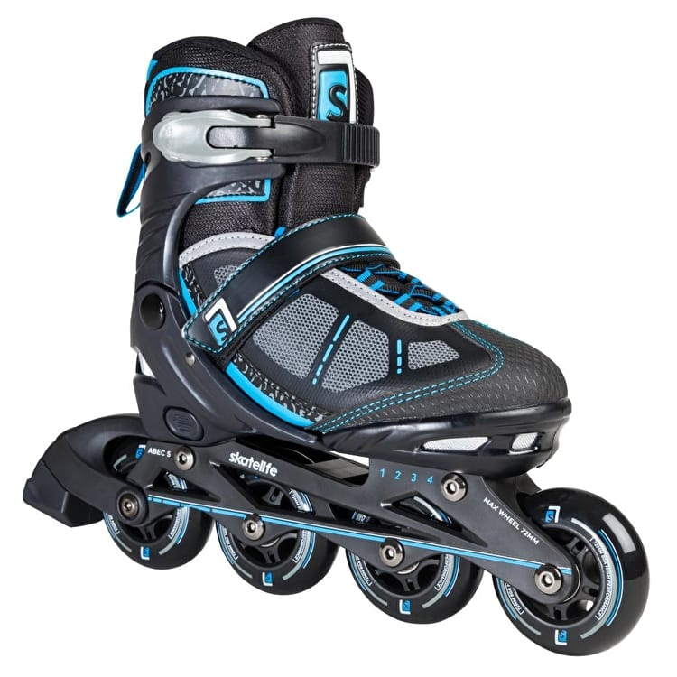 B-Stock Skatelife Lava Adjustable Inline Skates - Black/Blue - Junior UK 13 - UK 2 (Box Damage)