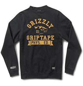 Grizzly Phys. Ed Bear Crewneck Sweater - Black
