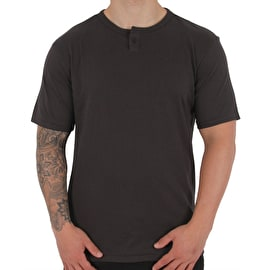 Brixton Basic Henley T-Shirt - Washed Black