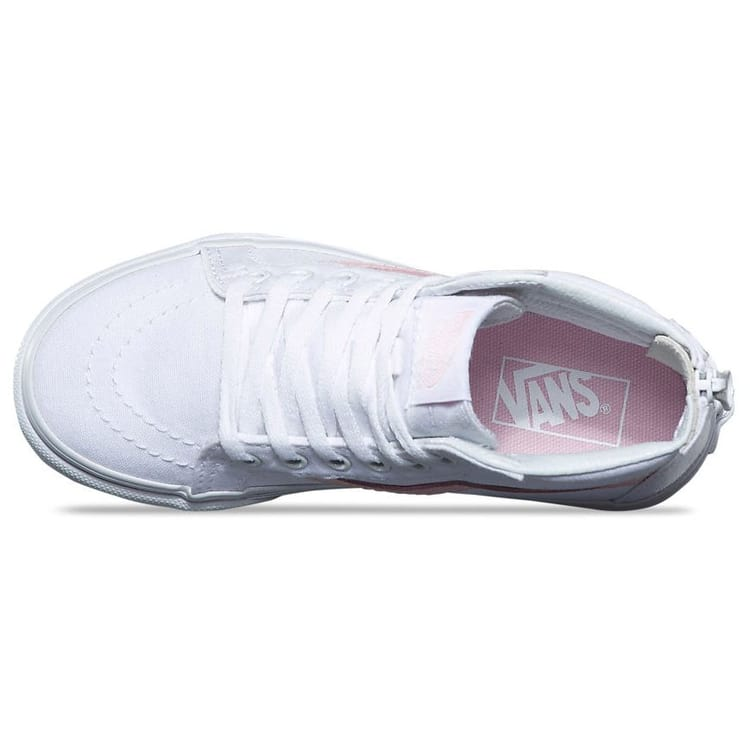 Vans Sk8-Hi Zip Kids Skate Shoes - True White/Chalk Pink