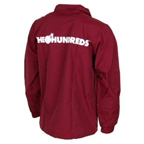 The Hundreds Bar Logo Coaches Jacket - Burgundy