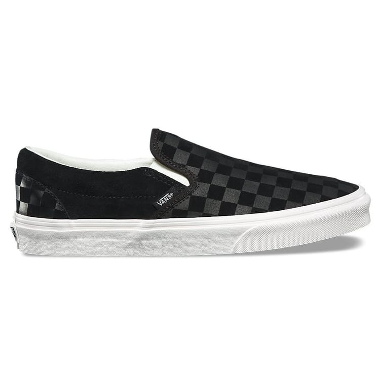 Vans Classic Slip-On Shoes - (Checker Emboss) Black/Marshmallow