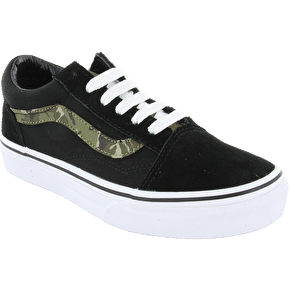 Vans Old Skool Kids Shoes - (Camo) Black/True White
