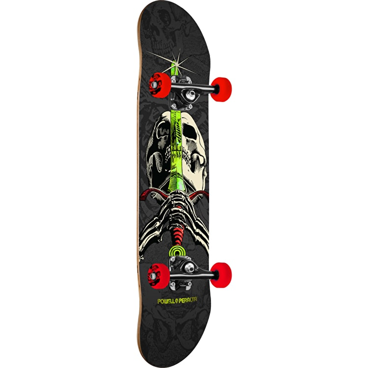 Powell Peralta One Off Skull & Sword Complete Skateboard - Grey/Red 7.88""