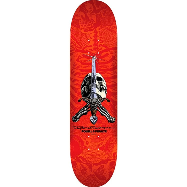 Powell Peralta Ray Rodriguez Skull & Sword Skateboard Deck - Red 8.25""
