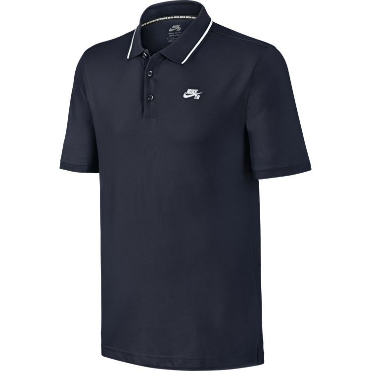 Nike SB Dri Fit Pique Polo Shirt - Obsidian/White