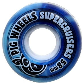 Pig Supercruiser Skateboard Wheels - Blue Swirl 58mm (Pack of 4)
