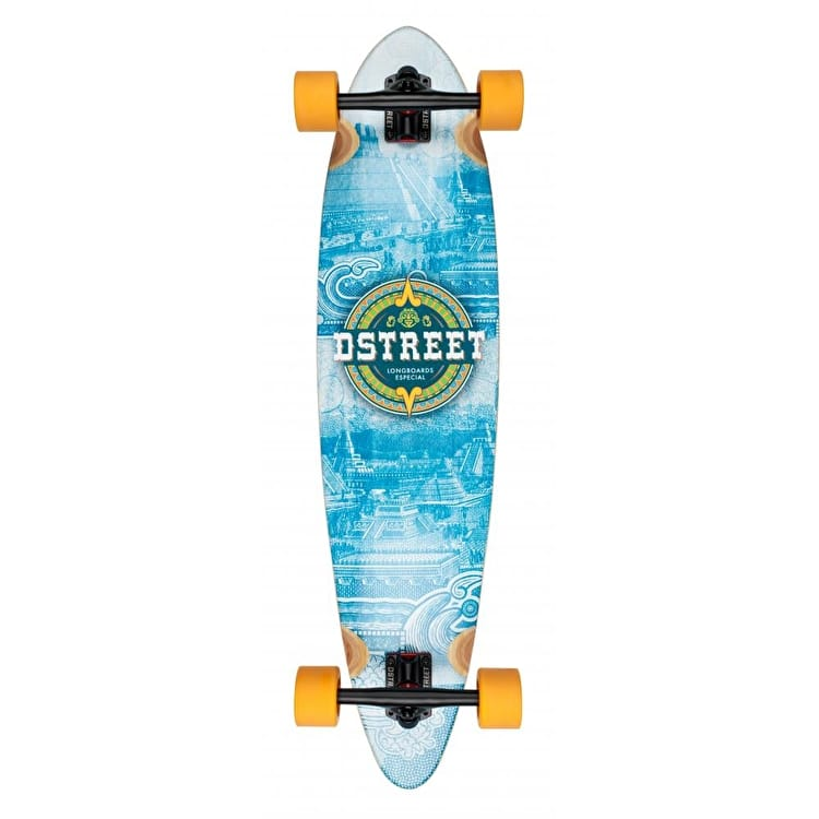 D-Street Mehico Mayan Bamboo Pintail Complete Longboard - Blue 36""