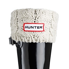 Hunter Kids Chunky Cable Wellington Boots Socks Ivory