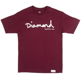 Diamond Supply Co OG Script T shirt - Burgundy